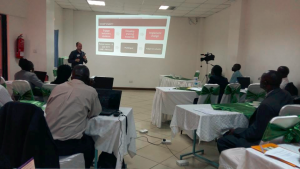Danny presents the software at a conference in Kenya